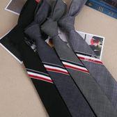 領帶 三色織帶領帶男女正裝紅白藍織帶條紋領帶5cm窄版潮禮盒裝 鹿角巷