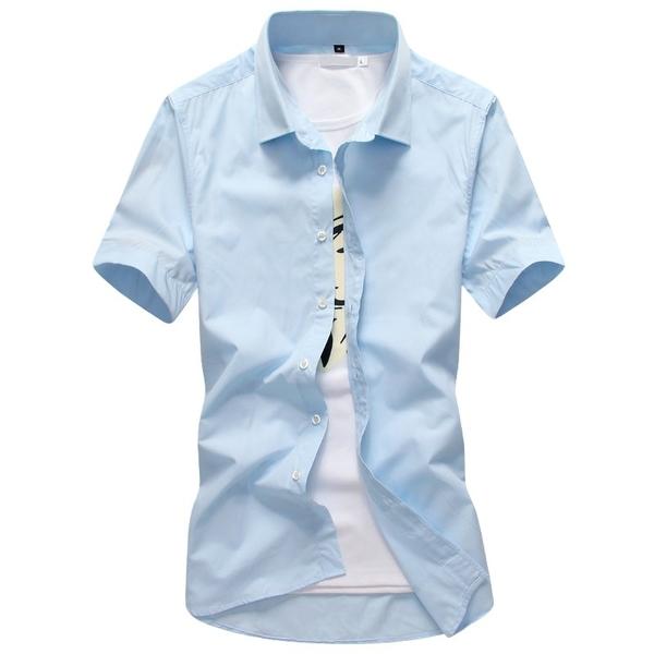 SLIM FIT時尚修身百搭短袖襯衫 SKINNY素面襯衫 工作襯衫 男 商務襯衫 黑 白 有大尺碼 M到5XL【QTJCS288】