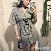 春夏韓國原宿復古格紋個性穿繩收腰顯瘦寬鬆襯衫連身裙女 概念3C旗艦店