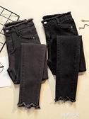 2020秋冬新款黑色高腰牛仔褲女學生加絨加厚彈力大碼顯瘦九分小腳『潮流世家』