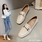 夏季新款英倫小皮鞋百搭軟皮平底單鞋時尚一腳蹬樂福鞋女兩穿 青木鋪子