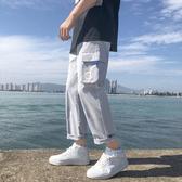 工裝褲男夏季薄款寬鬆直筒潮流百搭韓版休閒男生九分褲子運動長褲