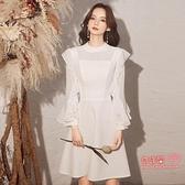 禮服 小洋裝晚禮服裙女2021新款長袖氣質白色輕奢小眾平時可穿年會宴會T