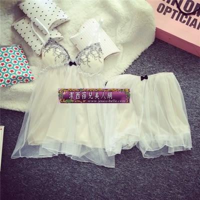 日系睡衣套裝性感蘿莉帶胸墊吊帶短褲家居服蕾絲花邊繡花 -11190050