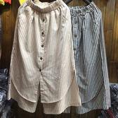 假兩件七分寬褲 新宿風條紋二色-月兒的綺麗莊園