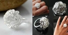 簡單 低價 小白玫瑰 戒指 女 花戒指 女 戒指 指環  氣質 戒指