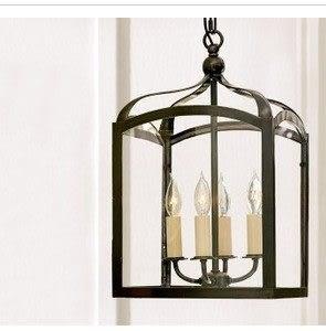 設計師美術精品館美式鄉村簡約歐式客廳燈 北歐宜家餐廳書房臥室吊燈 鐵藝玻璃箱燈