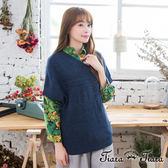 【Tiara Tiara】激安 混羊毛短袖針織罩衫(深藍/灰/咖啡)