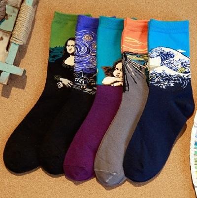長襪禮盒(5雙裝)-時尚名畫系列純棉防臭男士襪子套組5色72s4[時尚巴黎]