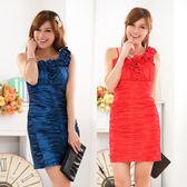 中大尺碼~單肩修身收腹包臀禮服洋裝(M~3XL)