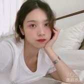 手? 泫雅風彩色蕾絲花朵編織手?女韓國個性學生甜美撞色拼接手飾  『優尚良品』