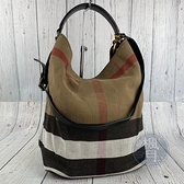 BRAND楓月 BURBERRY 巴寶莉 咖啡色格紋帆布水桶 經典格紋 兩用 水桶包 手提包 斜背包 側背包 肩背包