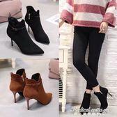 歐美尖頭短靴秋冬季側拉錬高跟鞋性感皮帶扣細跟絨面氣質馬丁靴ol·蒂小屋