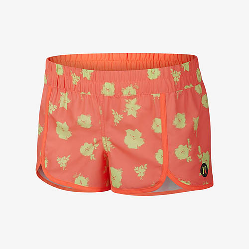 HURLEY|女 SUPERSUEDE PRINTED SCALLOP BEACHRIDER 海灘褲 (橘紅)