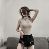 高領背心2018早秋新款韓版女人味港味無袖針織百搭打底純色顯瘦女