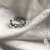 復古做舊泰銀戒指芒星鏤空編織指環戒指男女【韓衣舍】