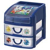 〔小禮堂〕神奇寶貝 Pokémon 塑膠二抽收納盒《深藍.透明.多角色》抽屜盒 4973307-39291
