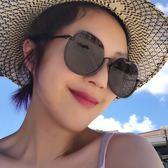 墨鏡潮人太陽鏡女半框大圓臉眼鏡防紫外線