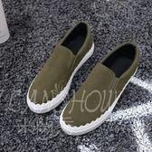 帆布鞋 樂福鞋 韓版女鞋套腳懶人鞋 平底休閒板鞋