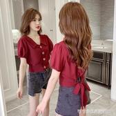 娃娃領上衣 2020夏季新款設計感小眾純色短款襯衫女后背綁帶娃娃領短袖上衣潮