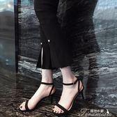 真皮夏高跟鞋韓版細跟一字扣帶涼鞋 磨砂露趾小碼高跟涼鞋女   中秋節下殺