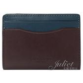 茱麗葉精品【全新現貨】COACH 91265 拼色牛皮多功能對折信用卡名片夾.靛藍