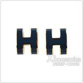 HERMES愛馬仕POP經典H字母立體簍空橢圓LOGO穿式耳環(深藍x金)