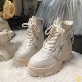 松糕厚底毛裏短靴加厚保暖馬丁靴雪地靴【雲木雜貨】