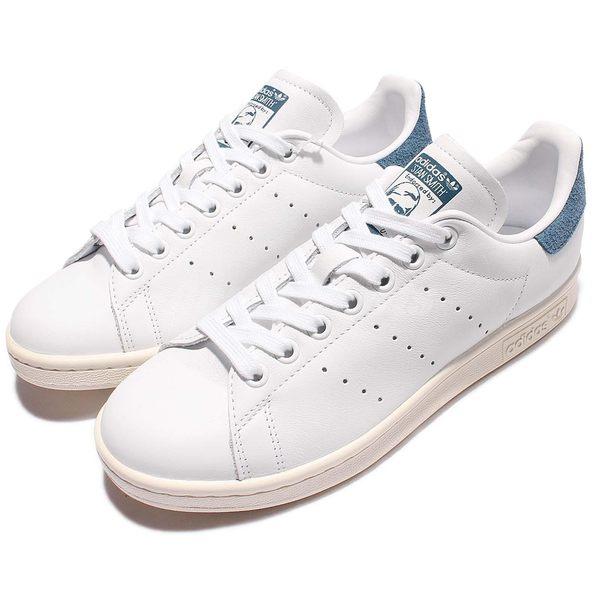 adidas 休閒鞋 Stan Smith W 白 藍 奶油底 復古 麂皮 百搭熱銷款 女鞋【PUMP306】 S82259