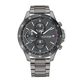 【台南 時代鐘錶 Tommy Hilfiger】1791719 多功能 鋼錶帶 三眼計時男錶 46mm 鐵灰