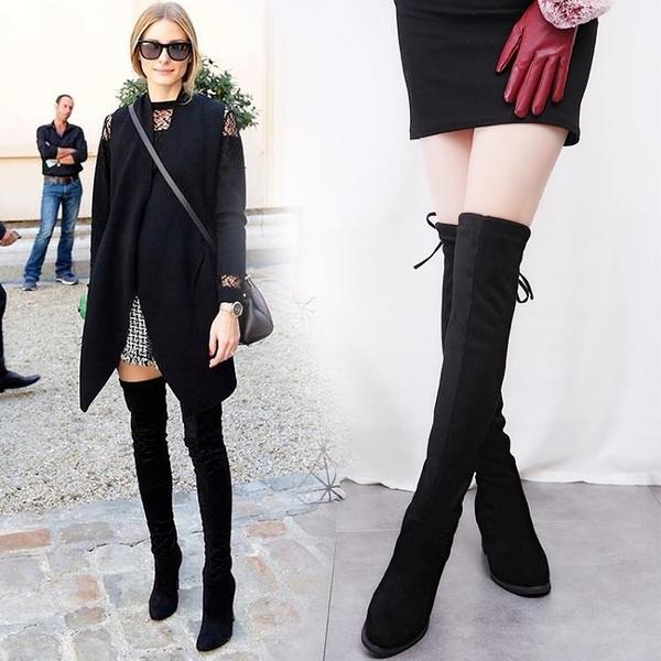 保暖加絨過膝靴長筒靴彈力長靴高筒靴高跟鞋瘦腿女靴秋冬季新品推薦