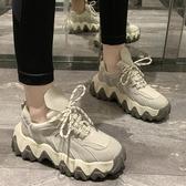 冬季新款椰子鞋女老爹鞋運動鞋鋸齒鬆糕厚底網面復古百搭潮鞋聖誕交換禮物