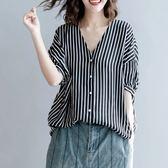 文藝范顯瘦V領豎條紋短袖襯衫女夏季韓版大尺碼寬鬆蝙蝠袖上衣減齡 快速出貨