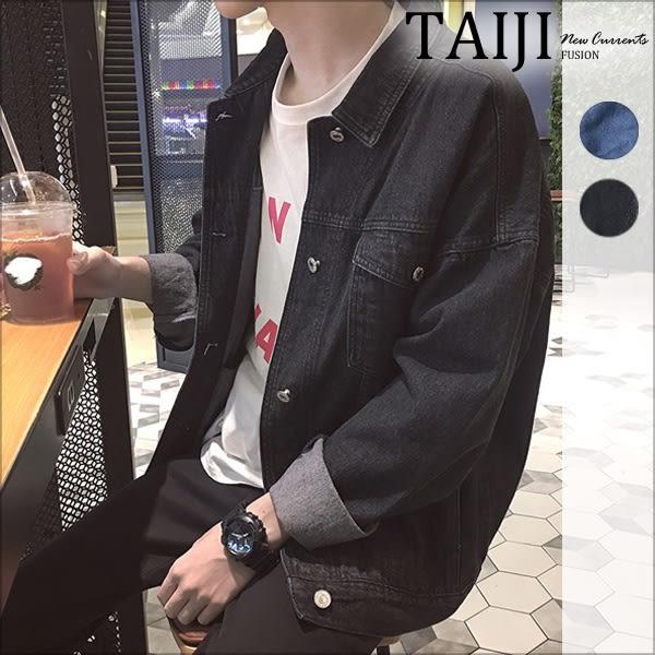 牛仔外套‧經典胸前雙口袋寬鬆落肩單寧牛仔外套‧二色【NTJO330】-TAIJI-
