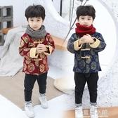 童裝兒童唐裝男童禮服中國風古裝漢服男春裝加厚寶寶新年裝拜年服 藍嵐