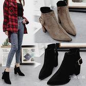2019夏季裝新品短筒馬丁靴潮女短靴高跟粗跟尖頭百搭加絨踝靴及裸靴