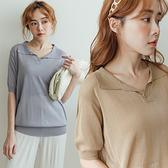 MIUSTAR 單釦翻領透膚針織短袖上衣(共6色)【NJ1718】預購