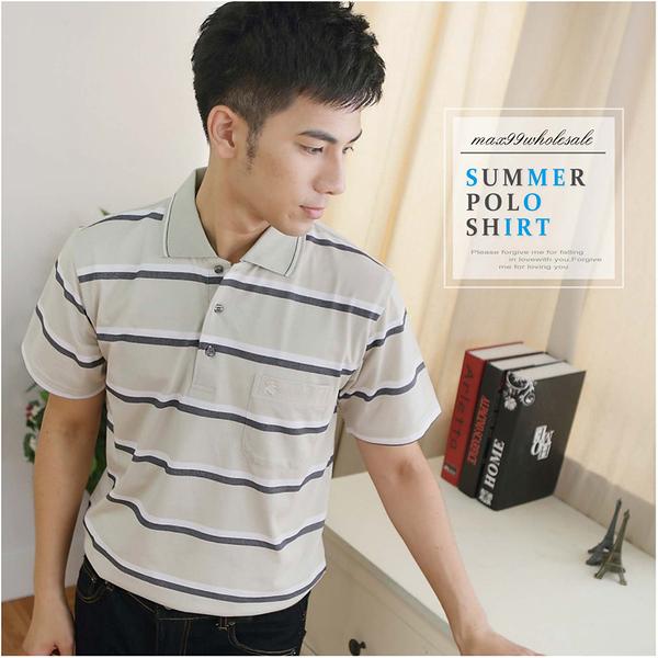 【大盤大】(P80873) 男 零碼出清 M 條紋短袖POLO衫 台灣製 抗皺口袋休閒衫 父親節 舒適透氣