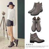 Ann'S中性印象-銀扣雙帶超短筒機車靴-灰