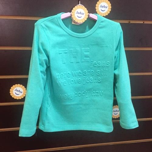 ☆棒棒糖童裝☆(8848)秋冬男童女童立體浮雕英文長袖上衣 5-15 藍綠;粉色