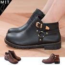 女款 英倫風時尚率性釦環平底短靴 軍靴 ...