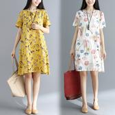 文藝大尺碼女正韓V領中長款寬鬆棉麻短袖連身裙 降價兩天