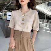 polo衫短袖 冰絲針織衫女夏季新款韓版寬松百搭短袖T恤顯瘦polo領上衣潮 曼慕衣櫃