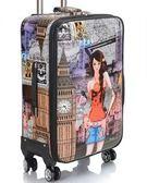 抖音行李箱女皮質布款拉桿韓版復古個性歐美20寸皮箱旅行