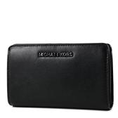 美國正品 MICHAEL KORS 黑字滑面皮革釦式對開中夾/手機包-黑色【現貨】