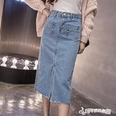 牛仔長裙 牛仔半身裙女2020夏裝新款高腰中長款遮小腿A字包臀長裙一步裙
