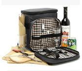 野餐包 含2人餐具組-百搭黑色肩垮郊遊燒烤保鮮保冰單肩側背包68ag15[時尚巴黎]