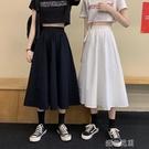 長裙白色半身裙女長裙夏季高腰a字裙顯瘦學生中長款裙子