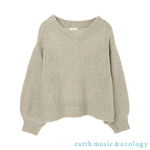 「Hot item」蓬袖V領落肩寬鬆針織上衣 - earth music&ecology
