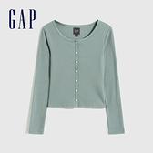 Gap女裝 純棉羅紋短款長袖針織衫 757111-淺綠色